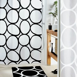 High Quality Fashion Black Ellipse Pattern Shower Curtain