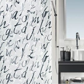 High Quality Unique Fashion Letter Printing Shower Curtain