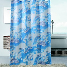 Super Lovely Blue Dolphin Pattern Top Class Shower Curtain