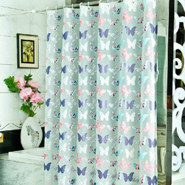 Roamntic Colorful Butterflies Print PEVA Shower Curtain