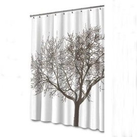 Simple Style Black Tree Printed Polyester 3D Shower Curtain