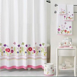 European Fresh Floral Pattern Polyester Shower Curtain