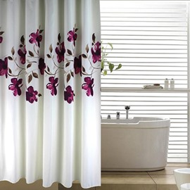 3D Purple Orchid Printed Polyester White Bathroom Shower Curtain