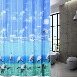 Gorgeous Dynamic Jumping Dolphin Ocean Style Shower Curtain