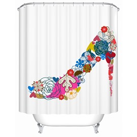Romantic Colorful Flower Print High Heel Shape Shower Curtain
