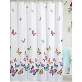 European Style Color Butterfly Waterproof Shower Curtains
