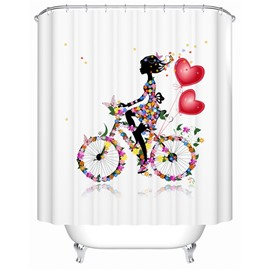Fancy Beautiful Riding Bike Girl Shower Curtain