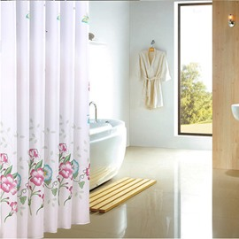 Graceful Flower Print Extra Long Bathroom Shower Curtain