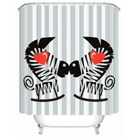 Charming Creative Love Zebra Pattern Shower Curtain