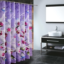 Elegent Vivid Butterfly Orchid Bathroom Shower Curtain