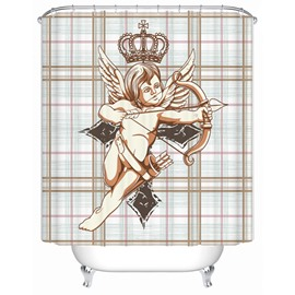 Lovely Salable Cupid Grilled Waterproof Shower Curtians