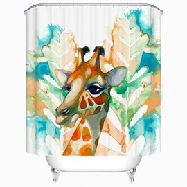 Charming 66 Unique Giraffe Design Painting Style Shower Curtain