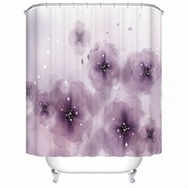 3D Waterproof Purple Flowers Printed Polyester Shower Curtain