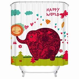Unique Cartoon Happy World Elephant Shower Curtain