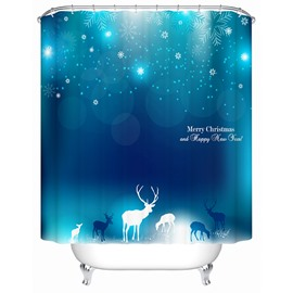 Fabulous Dreamlike Mysterious Deers and Snowflake Shower Curtain
