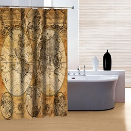 Retro European Style Earth Print 3D Shower Curtain