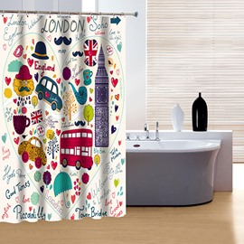 Brisk Wonderfl Colorful London Print 3D Shower Curtain