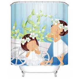 Cartoon Girls with White Dress Print Bathroom Shower Curtain
