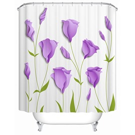 3D Purple Tulips Printed Polyester White Shower Curtain