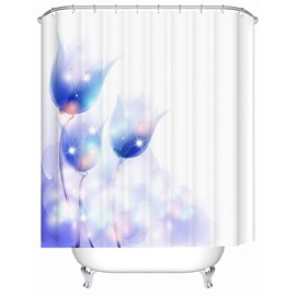 Freehand Blue Flowers Print Bathroom Shower Curtain