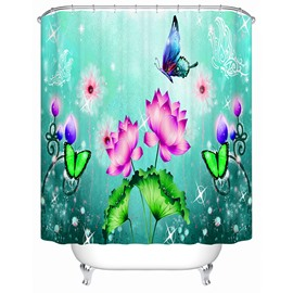 Colorful Butterflies and Water Lilies Print Bathroom Shower Curtain