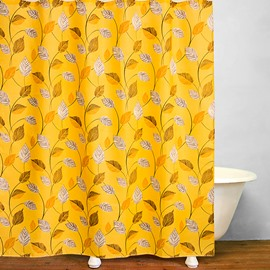 Stunning Golden Leaves of Orange Tree Print Bathroom Shower Curtain