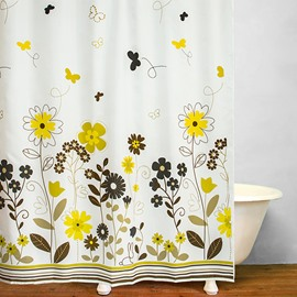 Concise Golden Flowers in Summer Printing Shower Curtain