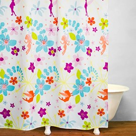 Color Flower Fairies Printing Waterproof Shower Curtain