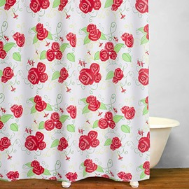 Watercolor Red Roses Pattern Polyester Shower Curtain