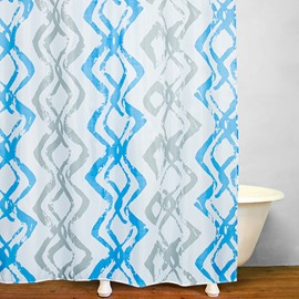 Mediterranean Blue Vertical Stripes Shower Curtain