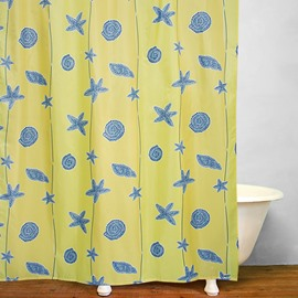 Modern Decor Blue Starfish Pattern Polyester Shower Curtain