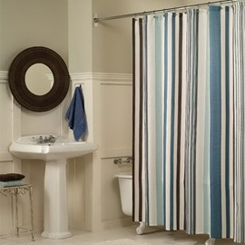 Stripe Pattern Polyester Colorful Bathroom Shower Curtain