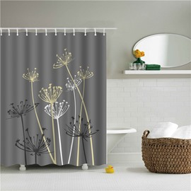 3D Dandelion Printed Polyester Gray Bathroom Shower Curtain