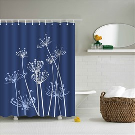3D Dandelion Printed Polyester Blue Bathroom Shower Curtain