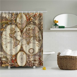 Old Map of The World Printed Polyester Bathroom Shower Curtain
