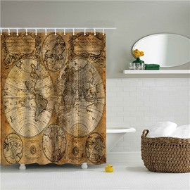 Old Map Printed Polyester Bathroom Shower Curtain
