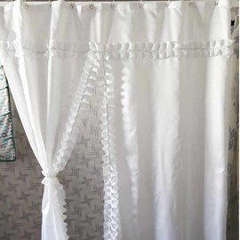 Lacework Design Polyester White Bathroom Shower Curtain
