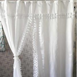Lacework Design Polyester White Bathroom Shower Curtain