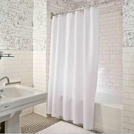 Mouldproof and Waterproof Polyester White Bathroom Shower Curtain