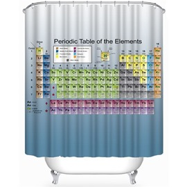 Periodic Table of the Elements Printed Blue Polyester Bathroom Shower Curtain