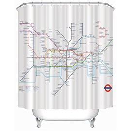 London Subway Route Map Printed Polyester Bathroom Shower Curtain