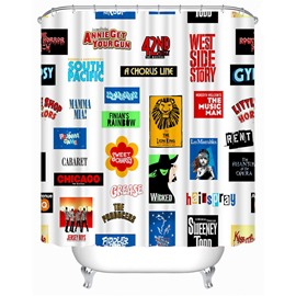Brand Logos Printed Polyester White Bathroom Shower Curtain