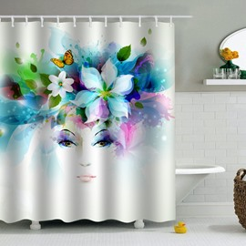 Flowers on Head Printed PEVA Waterproof Durable Antibacterial Eco-friendly Shower Curtain