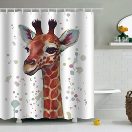 Giraffe Printed PEVA Waterproof Durable Antibacterial Eco-friendly Shower Curtain
