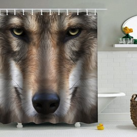 Brown Wolf Printed PEVA Waterproof Durable Antibacterial Eco-friendly Shower Curtain