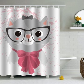 Cat in Scarfs and Glasses Printed PEVA Waterproof Durable Antibacterial Eco-friendly Shower Curtain