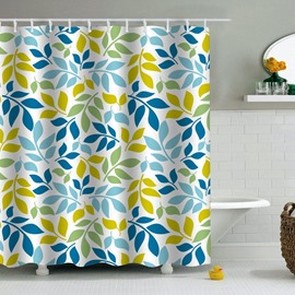 Leaves Printed PEVA Waterproof Durable Antibacterial Eco-friendly Shower Curtain