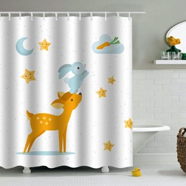 Rabbit Deer Printed PEVA Waterproof Durable Antibacterial Eco-friendly Shower Curtain
