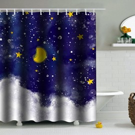 Stars Moon in Blue Sky PEVA Waterproof Durable Antibacterial Eco-friendly Shower Curtain