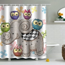 Owl Heads Elephant Printed PEVA Waterproof Durable Antibacterial Eco-friendly Shower Curtain
